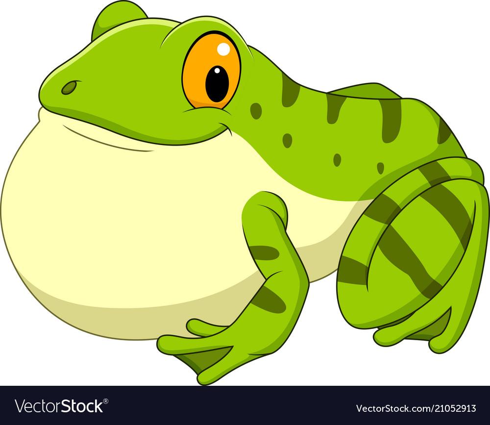 Cartoon green frog croaking