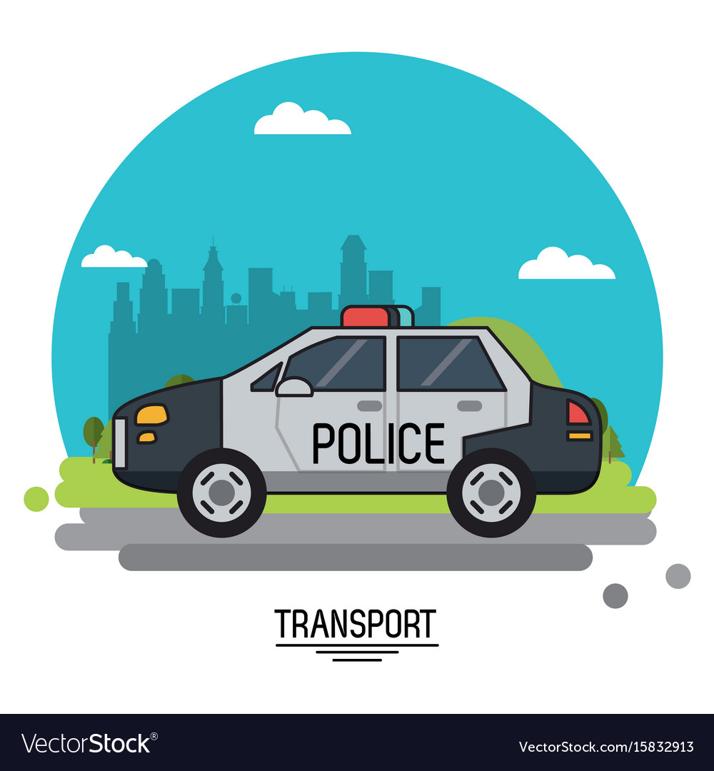 Colorful poster of transport with police car on