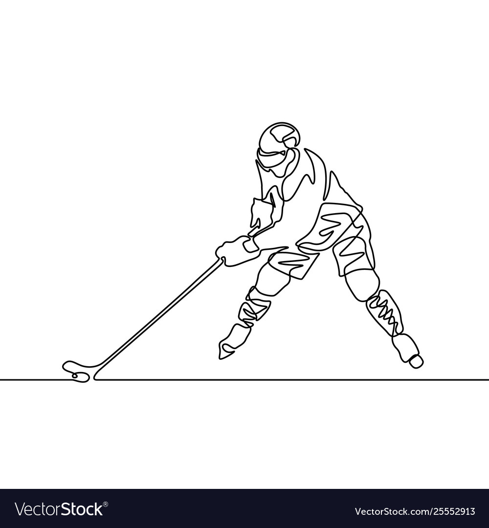 Continuous one line hockey player