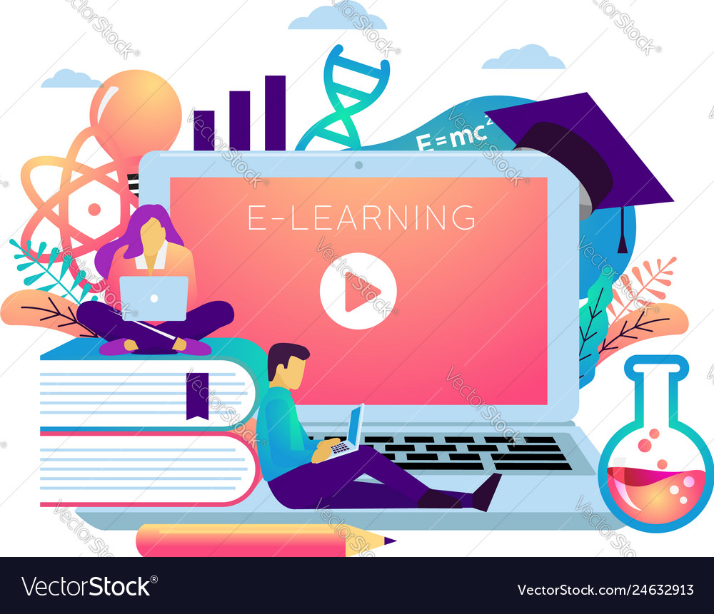 E learning illustration concept student sitting