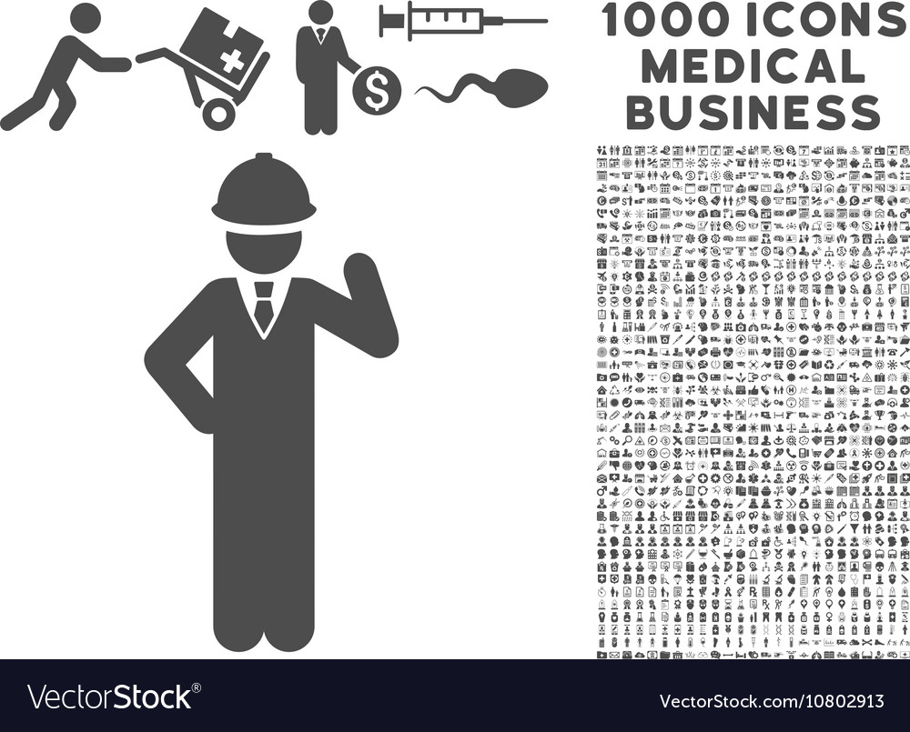 Engineer Icon With 1000 Medical Business Symbols Vector Image
