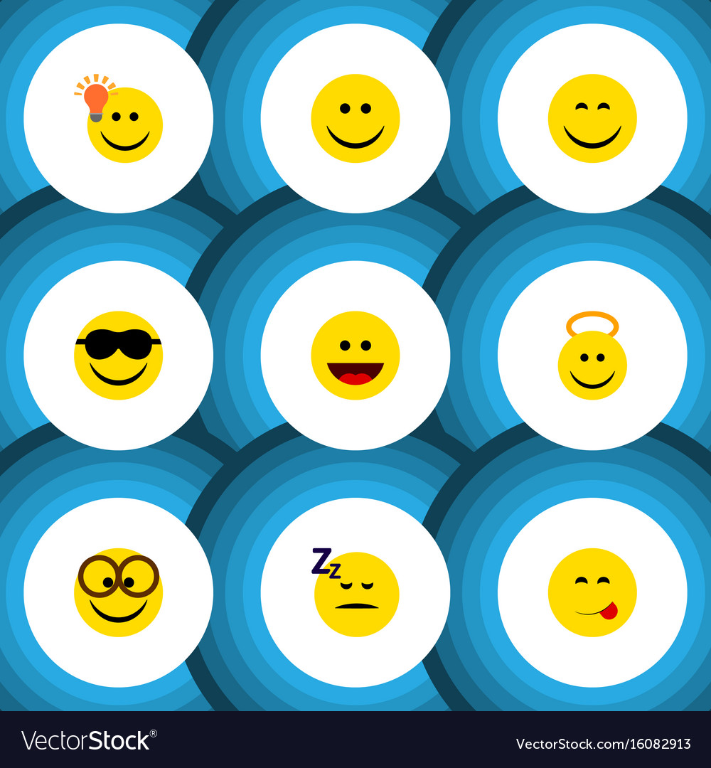Flat icon face set of pleasant smile laugh and