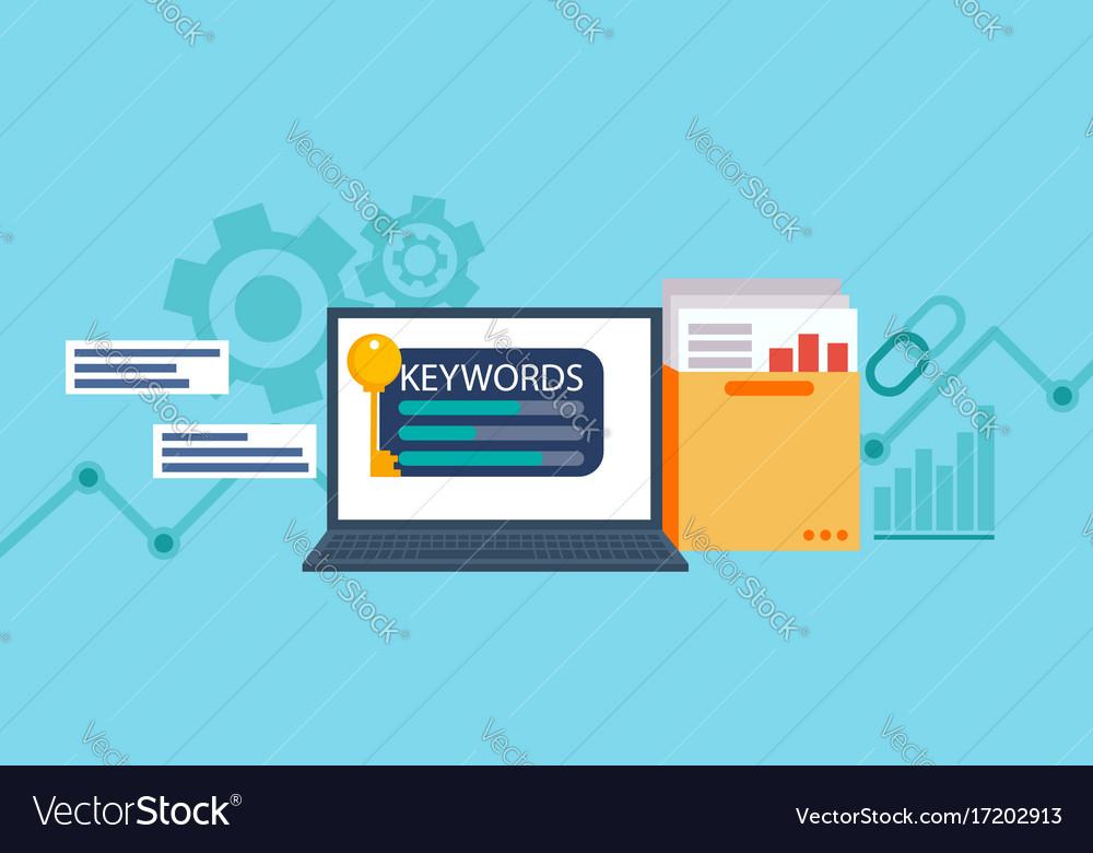 Keywords tool word matching program vector image