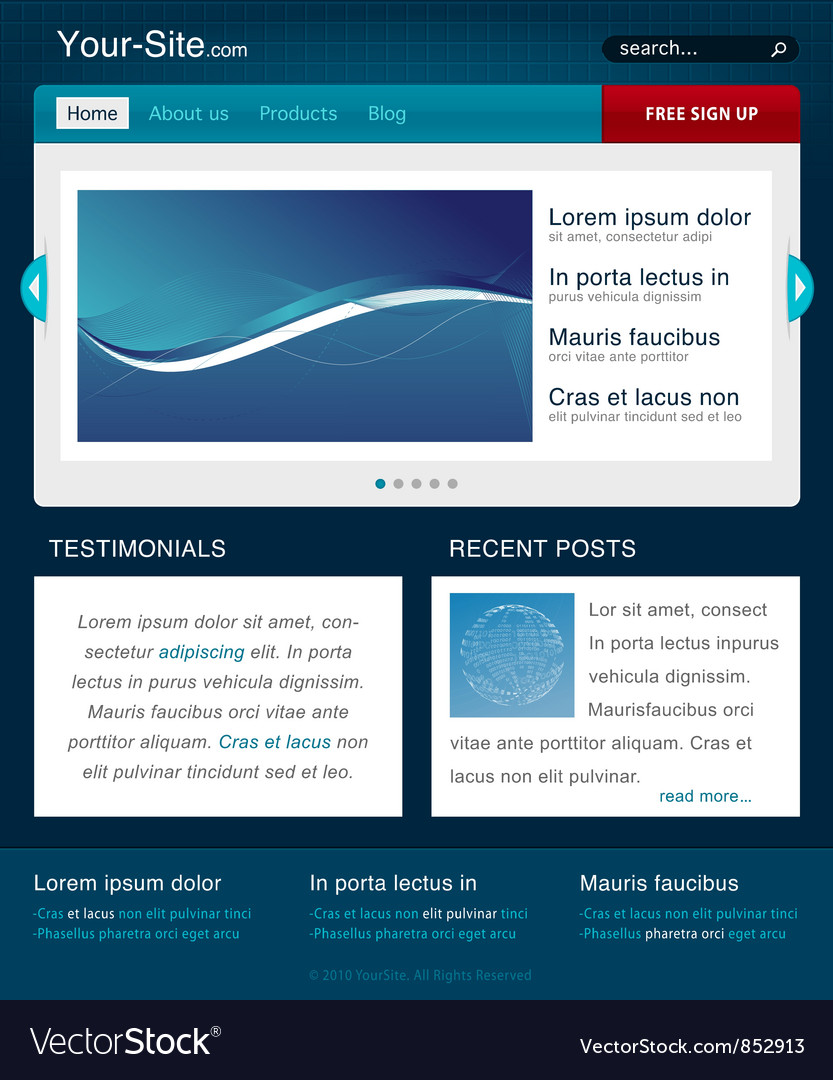 Modern Website Template Royalty Free Vector Image