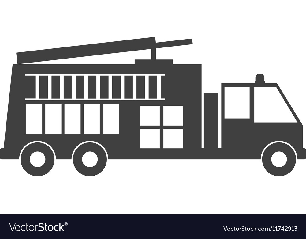 monochrome silhouette with fire truck royalty free vector rh vectorstock com fire engine vector fire truck vector art