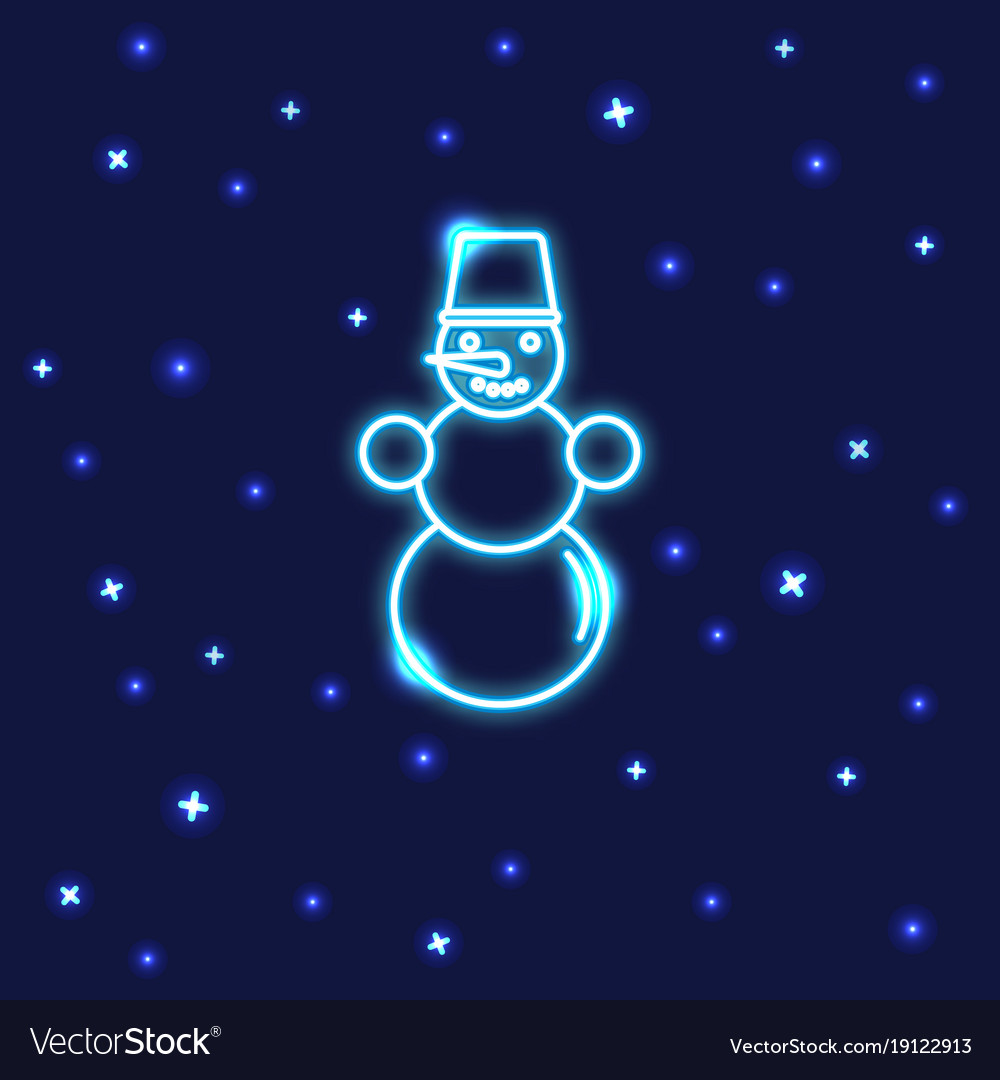 Neon snowman icon in line style