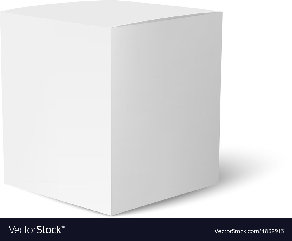 Paper or cardboard box template standing on white