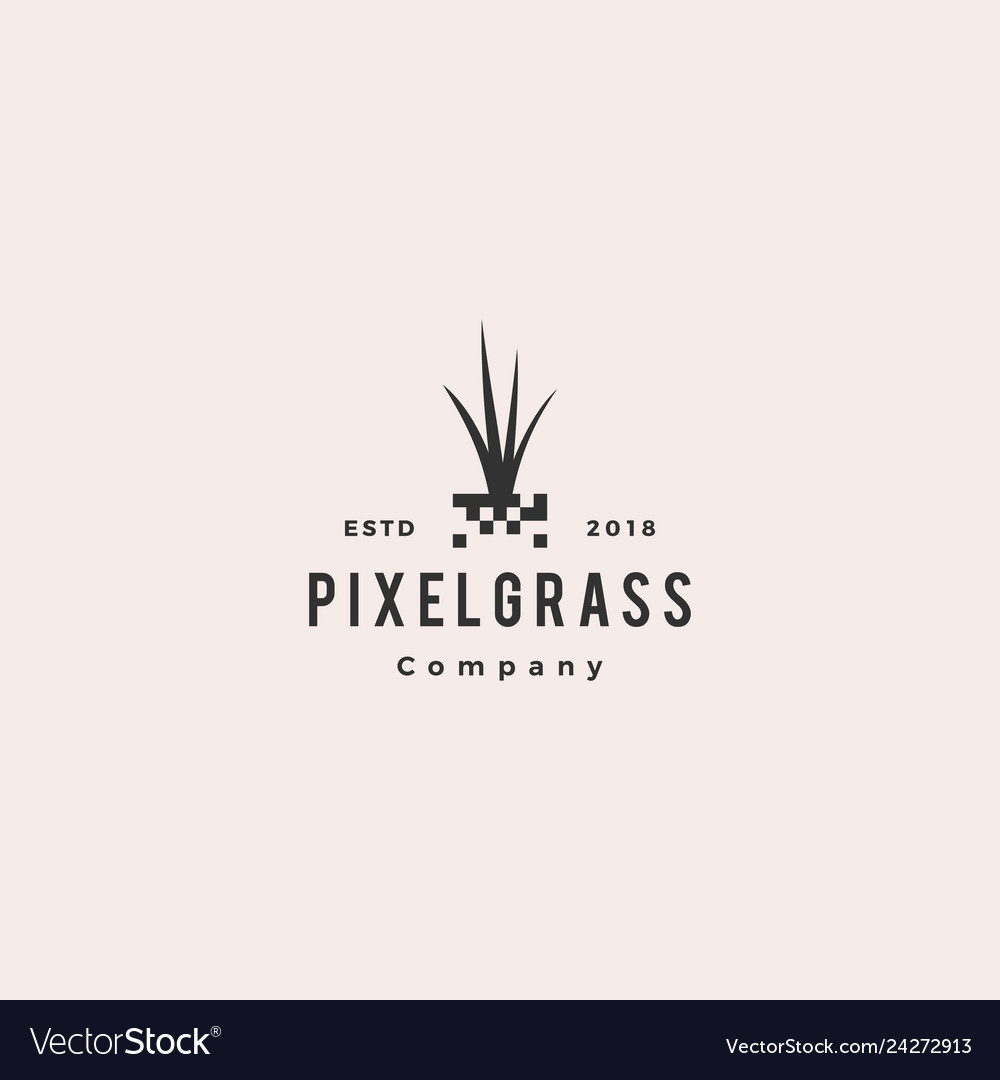 Pixel grass root logo hipster retro vintage icon