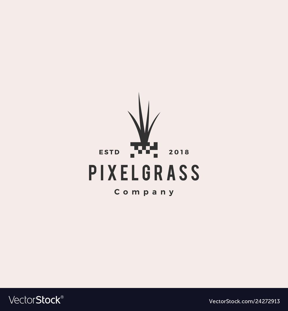 pixel grass root logo hipster retro vintage icon vector image vectorstock