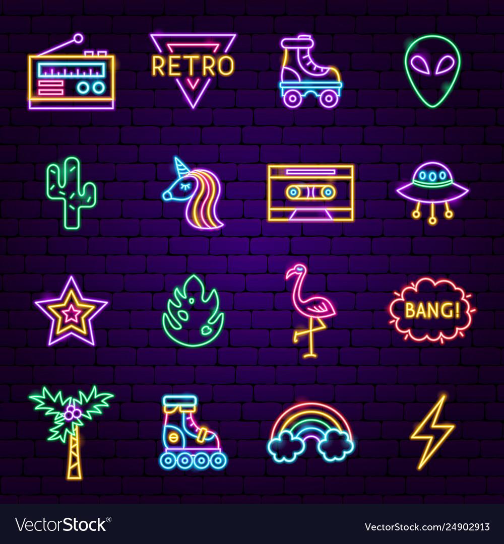 Retro style neon icons