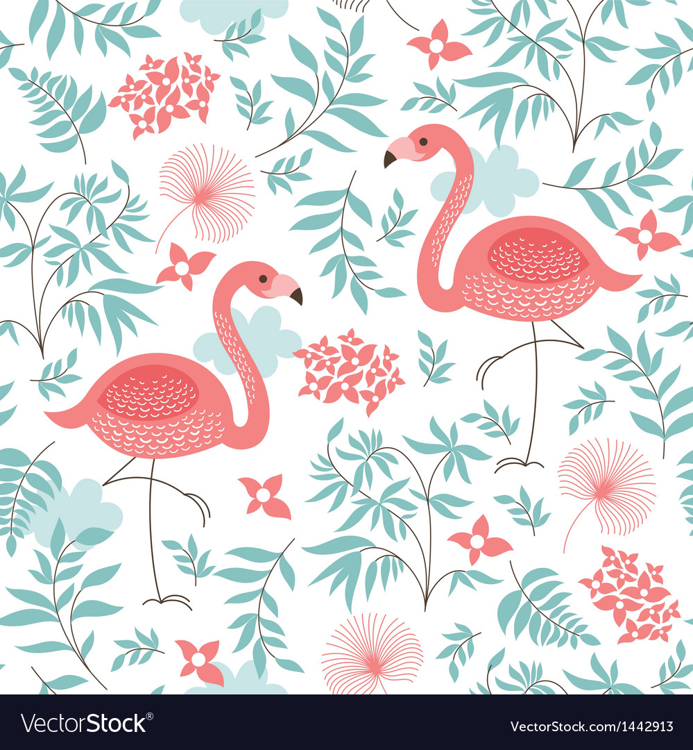 Seamless pattern with a flamingo