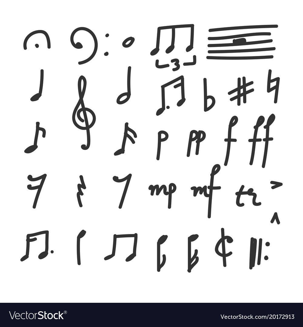 Set Of Hand Drawn Music Notes And Symbols Icons Vector Image