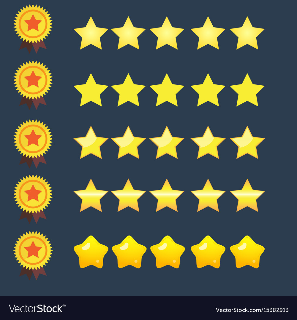 Stars rating icons set and copper ribbon medal
