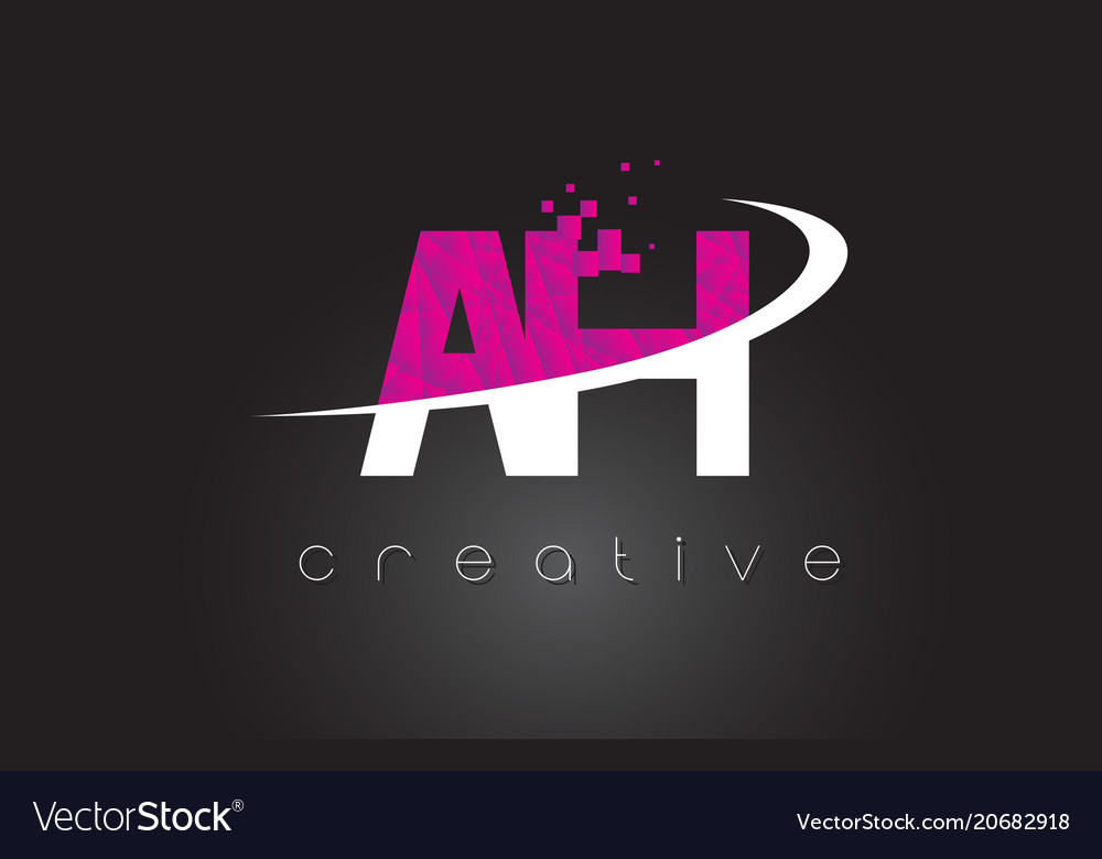 Ah a h creative letters design with white pink