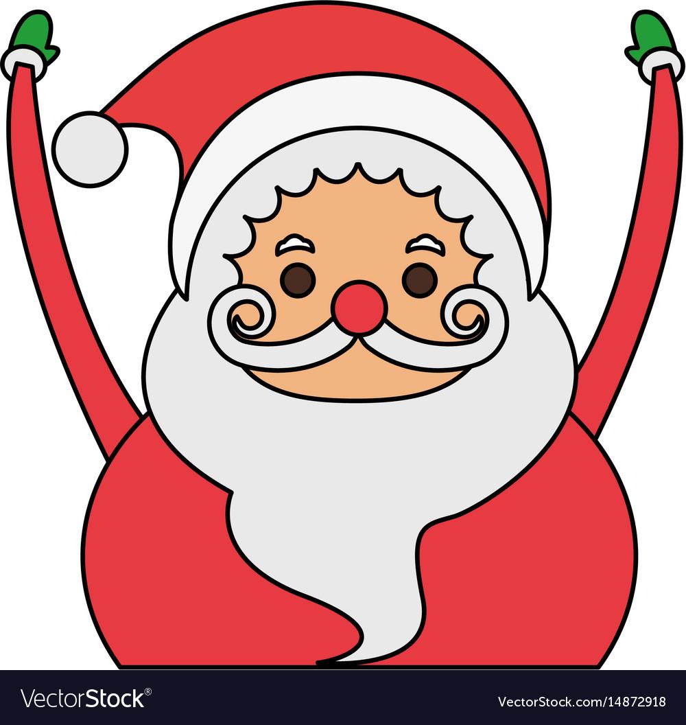 Color image cartoon half body fat santa claus with