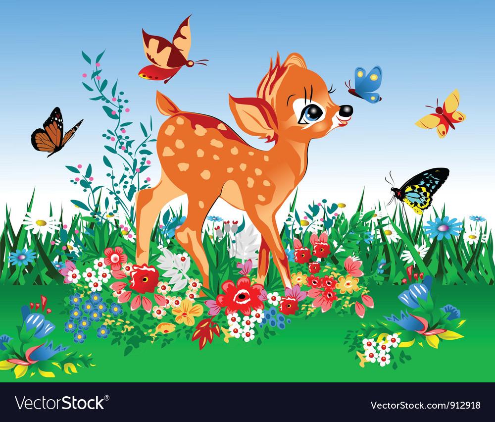 Deer in summer garden