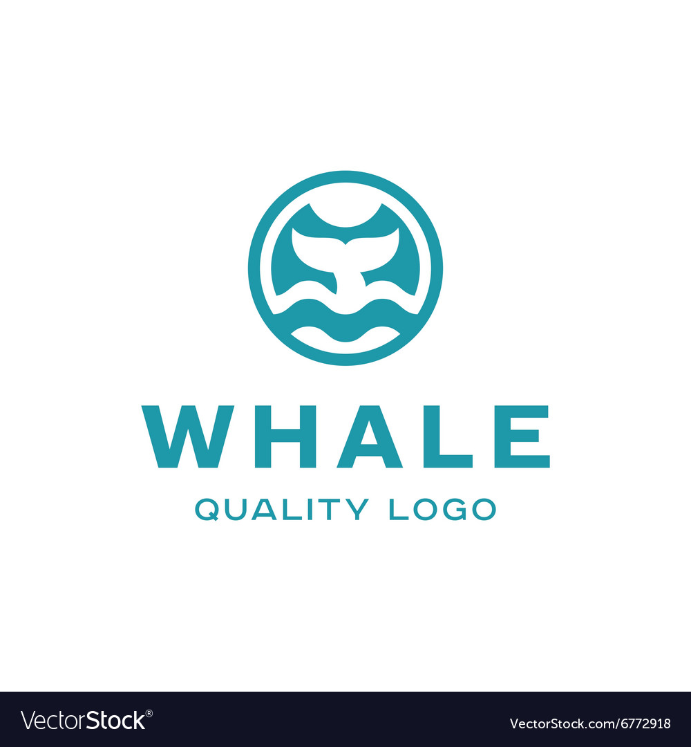 Diving with whale fin abstract sign icon vector image