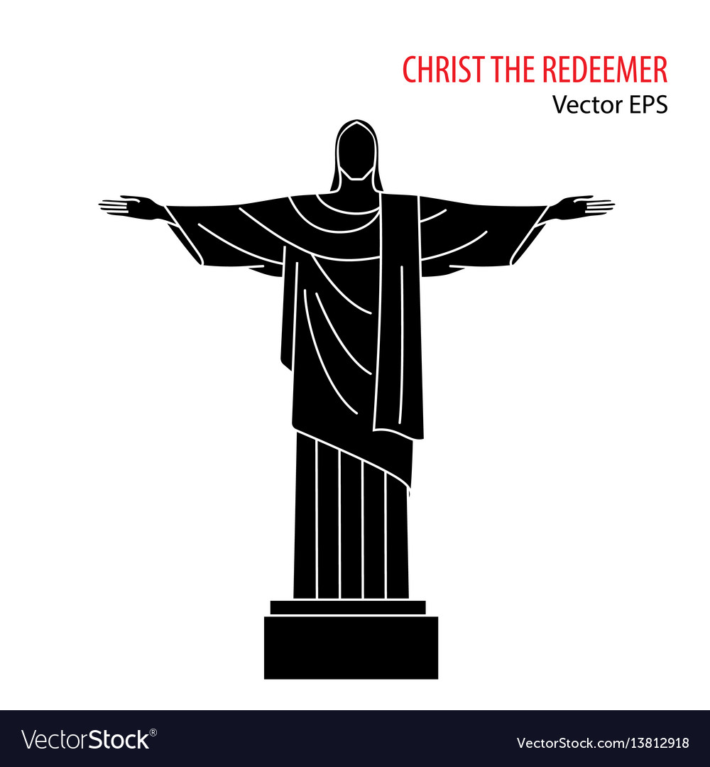 Flat icon of christ the redeemer rio de