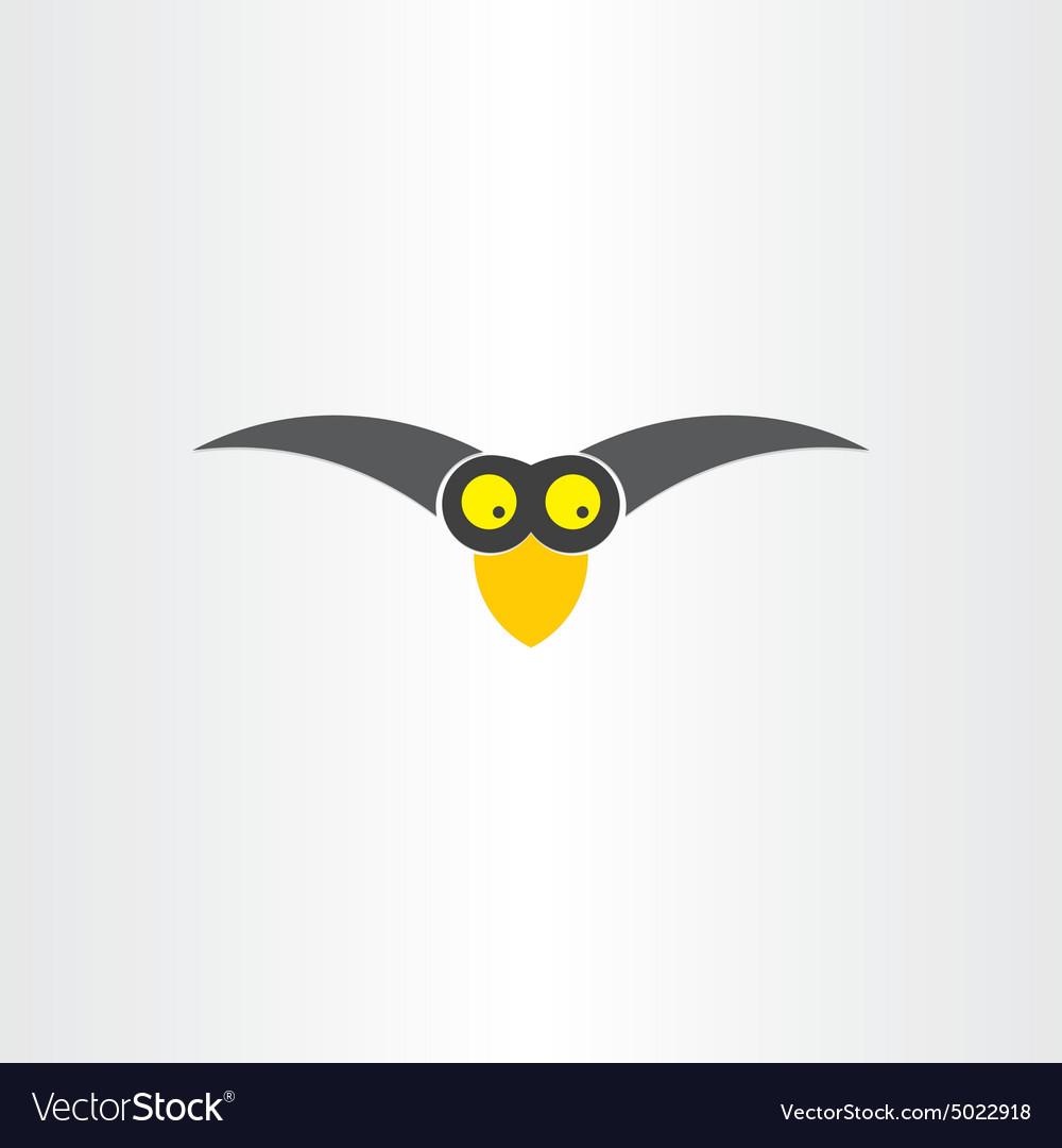 Funny western jackdaw bird cartoon icon