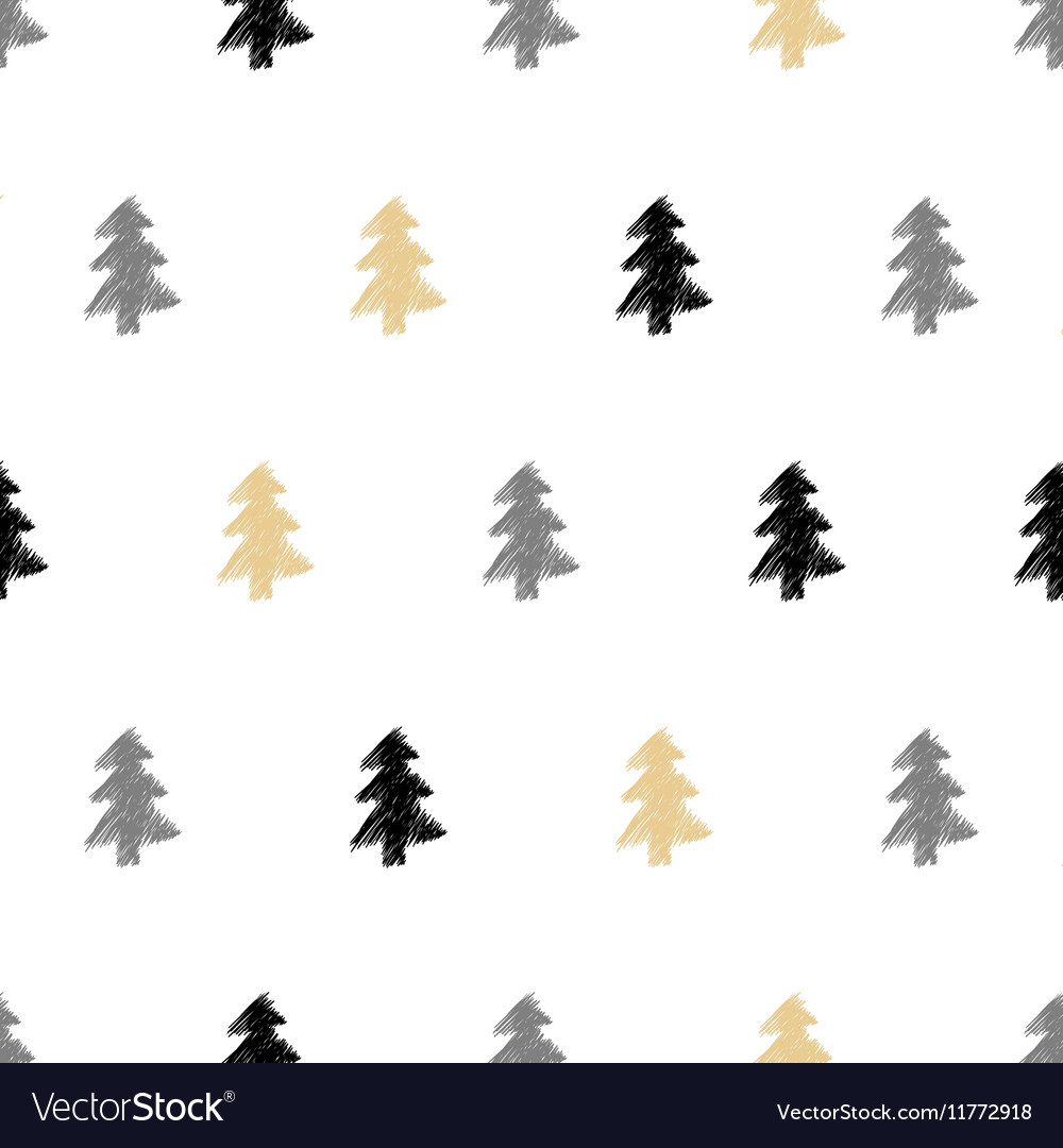 Hand drawn Christmas tree fir seamless pattern in