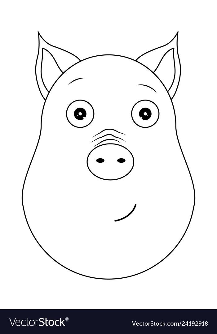 Head of serene pig in outline style kawaii animal