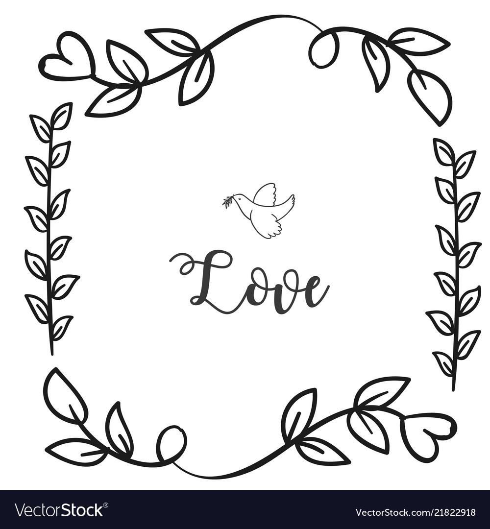 Love Bird Flower Grass Square Frame White Backgrou