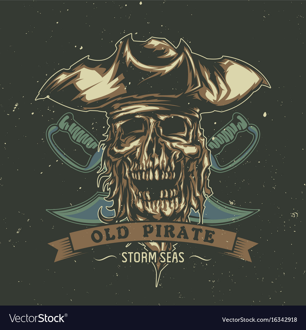 Poster design with dead pirate in hat