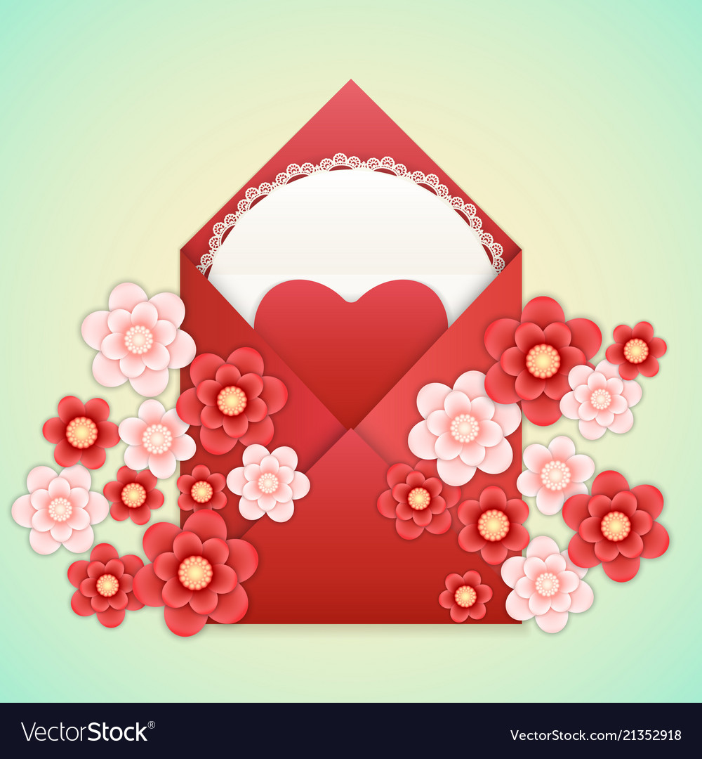 Realistic envelope with heart lace and flowers