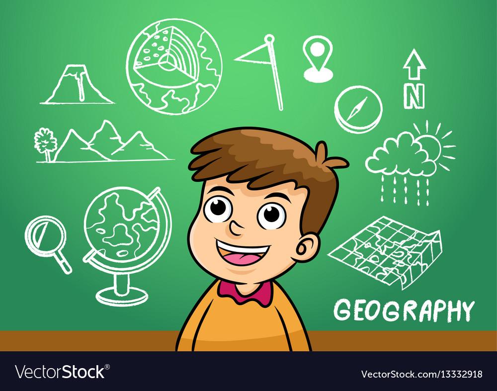 School boy write geography sign object in school