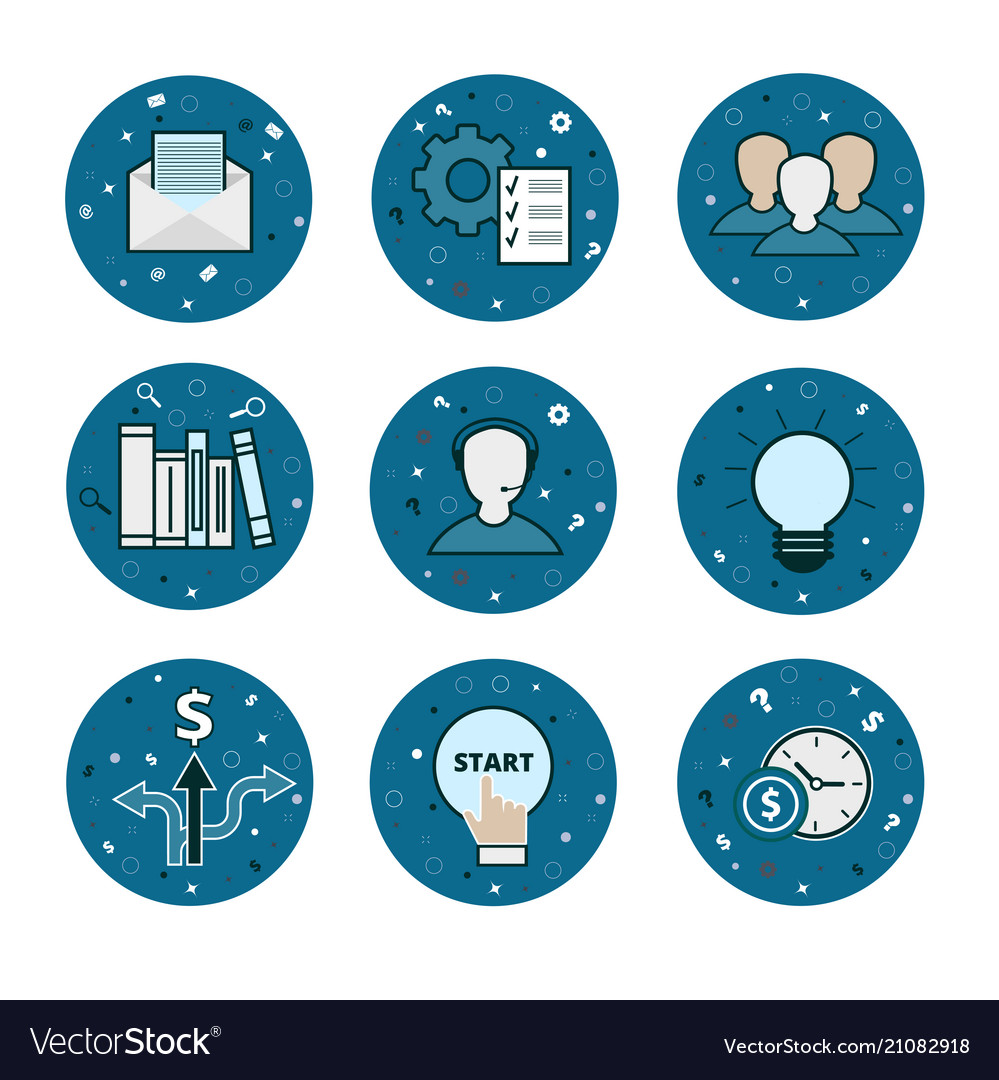 Set of 9 business icons - blue flatstyle vector image