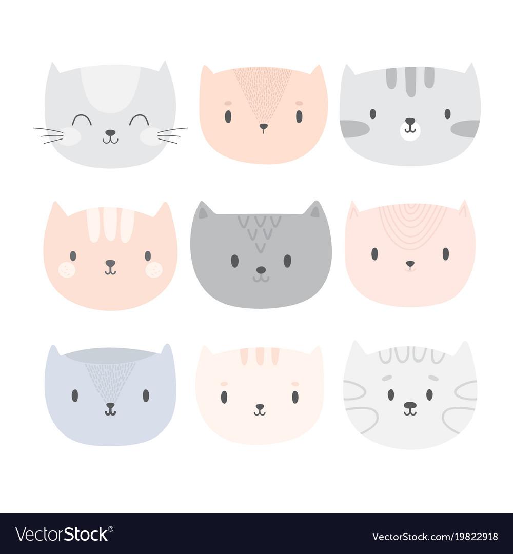 Set of cute cartoon cats funny doodle animals