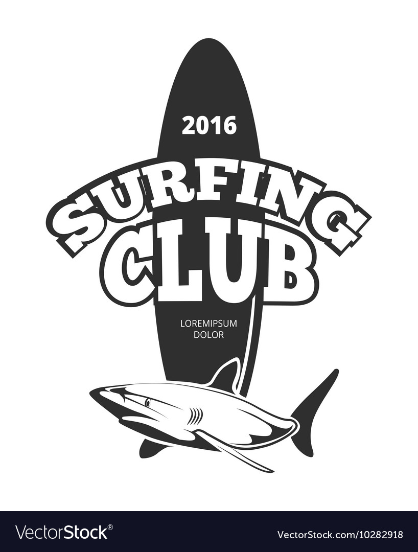 Surfing club logo with board and shark