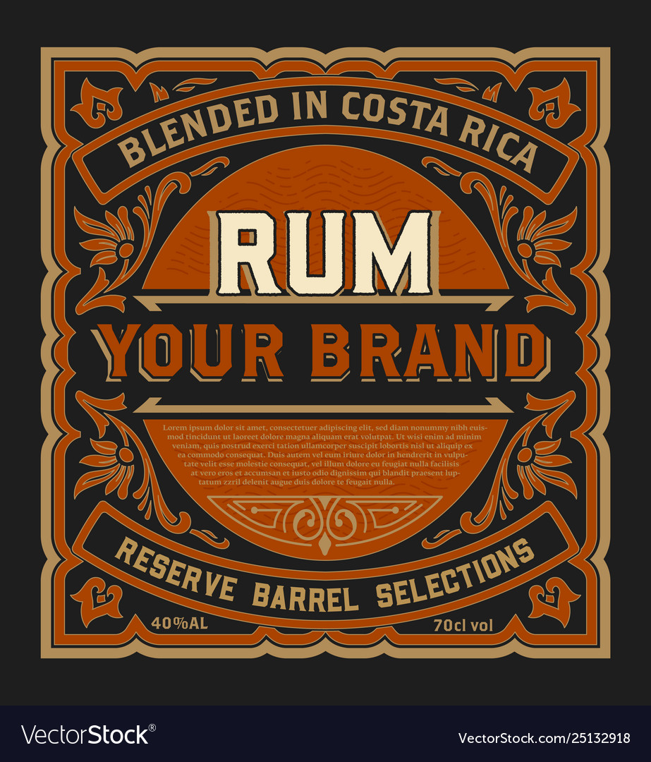 Vintage liquor label for packing layered