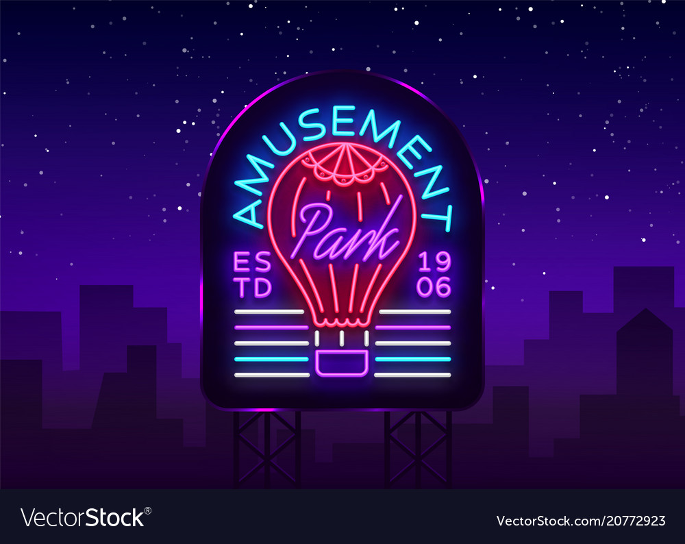 Amusement park logo in neon style design template vector image