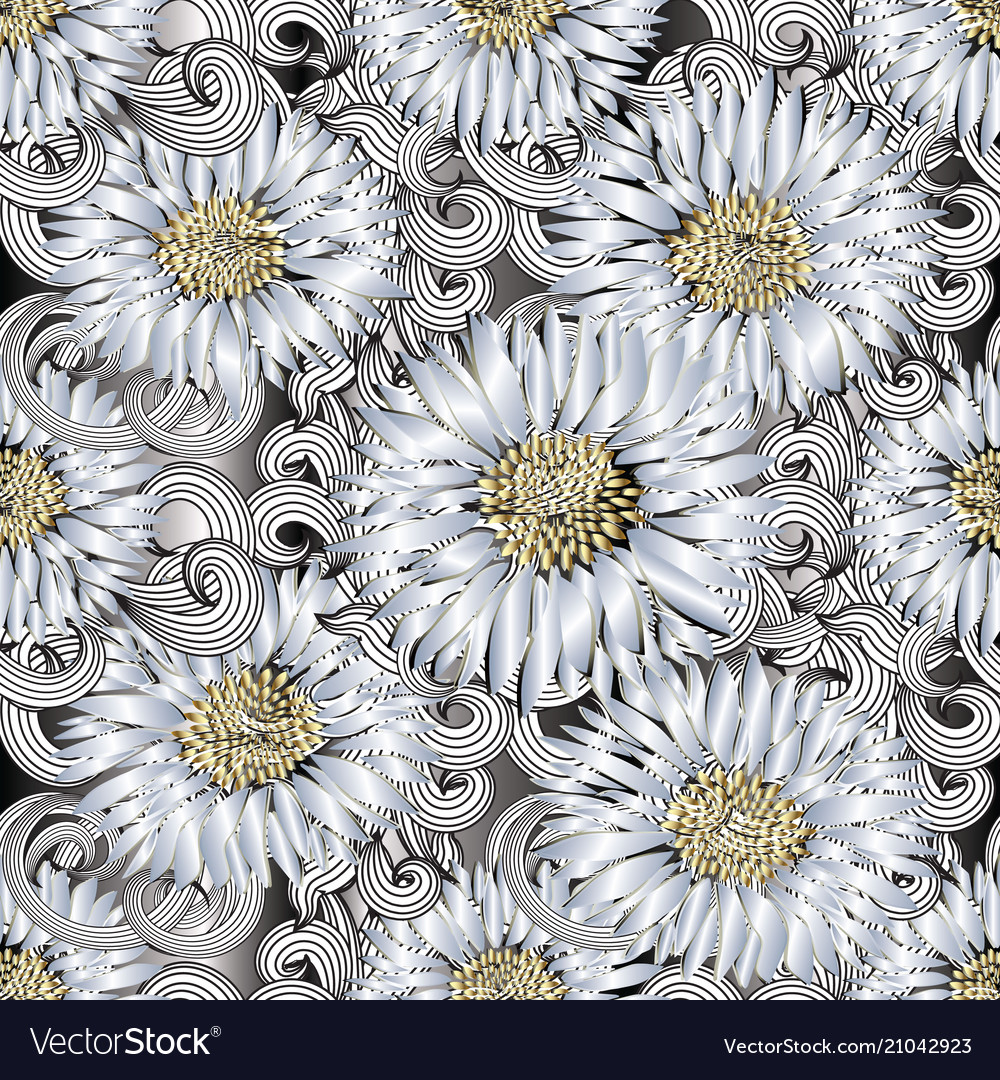 Background seamless pattern of 3d flowers