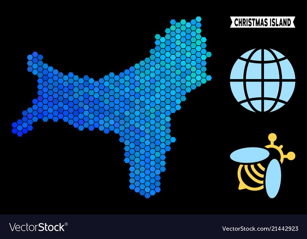 Blue Hexagon Christmas Island Map Royalty Free Vector Image