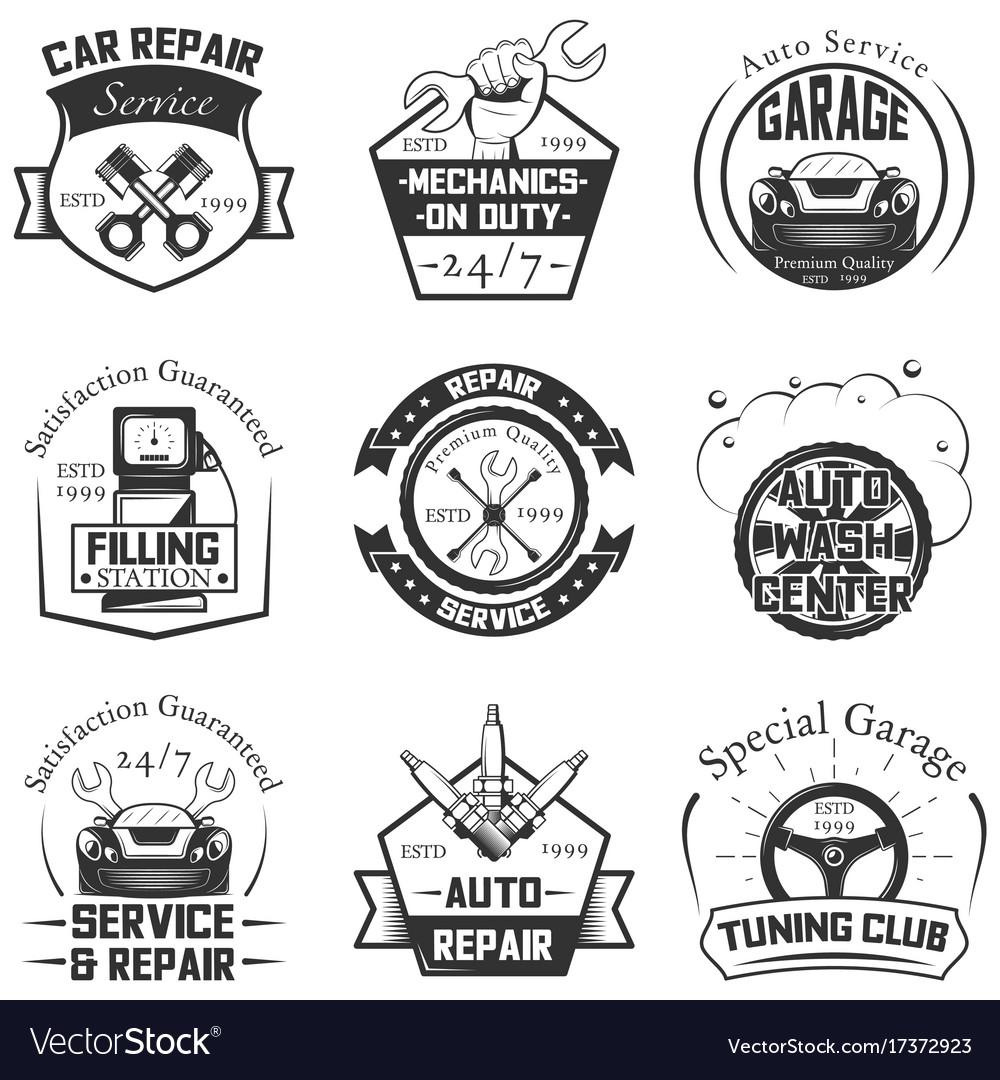 Car service logos vintage labels badges