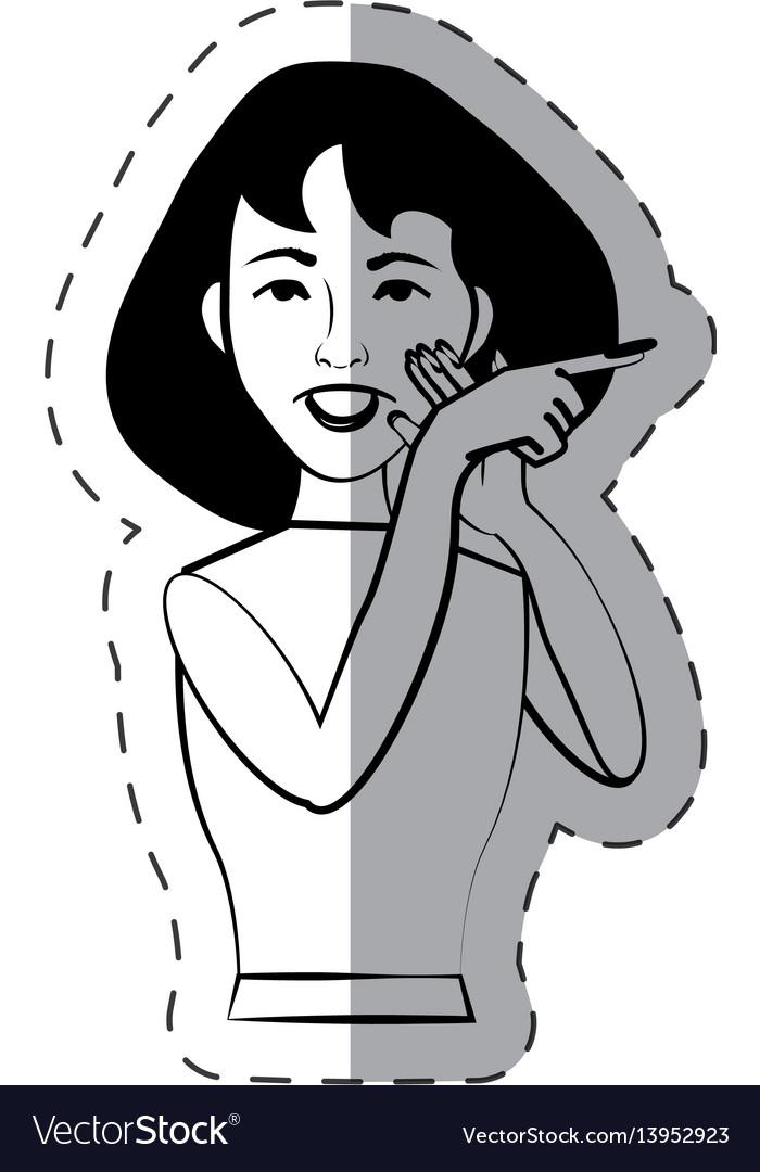 Cartoon woman expression gesture