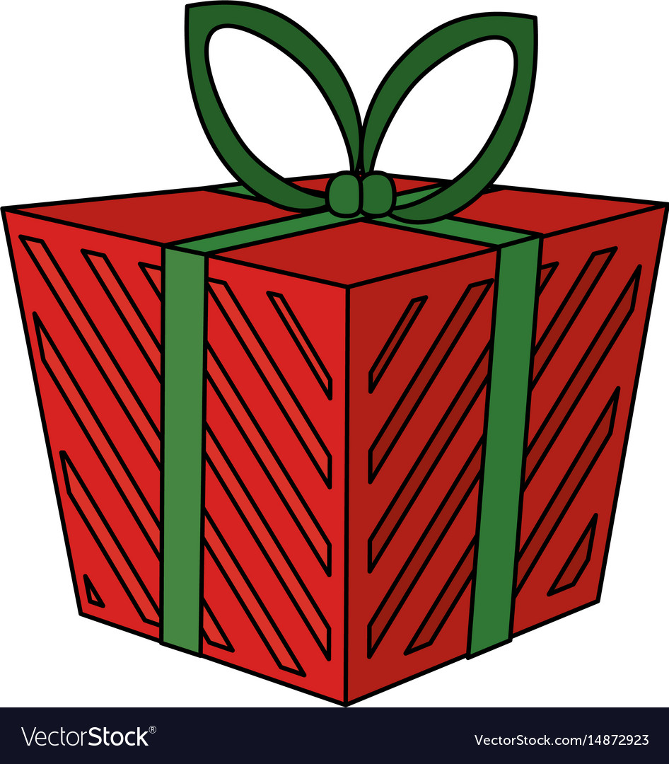 Color image cartoon christmas giftbox with vector image