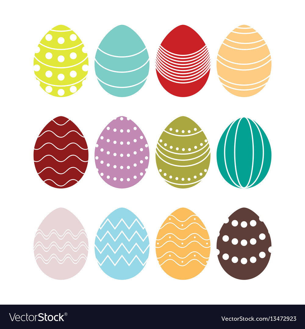 Colored silhouettes of easter eggs