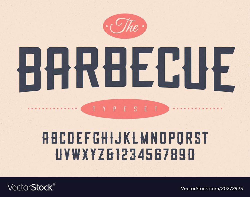 Condensed retro display font design alphabet