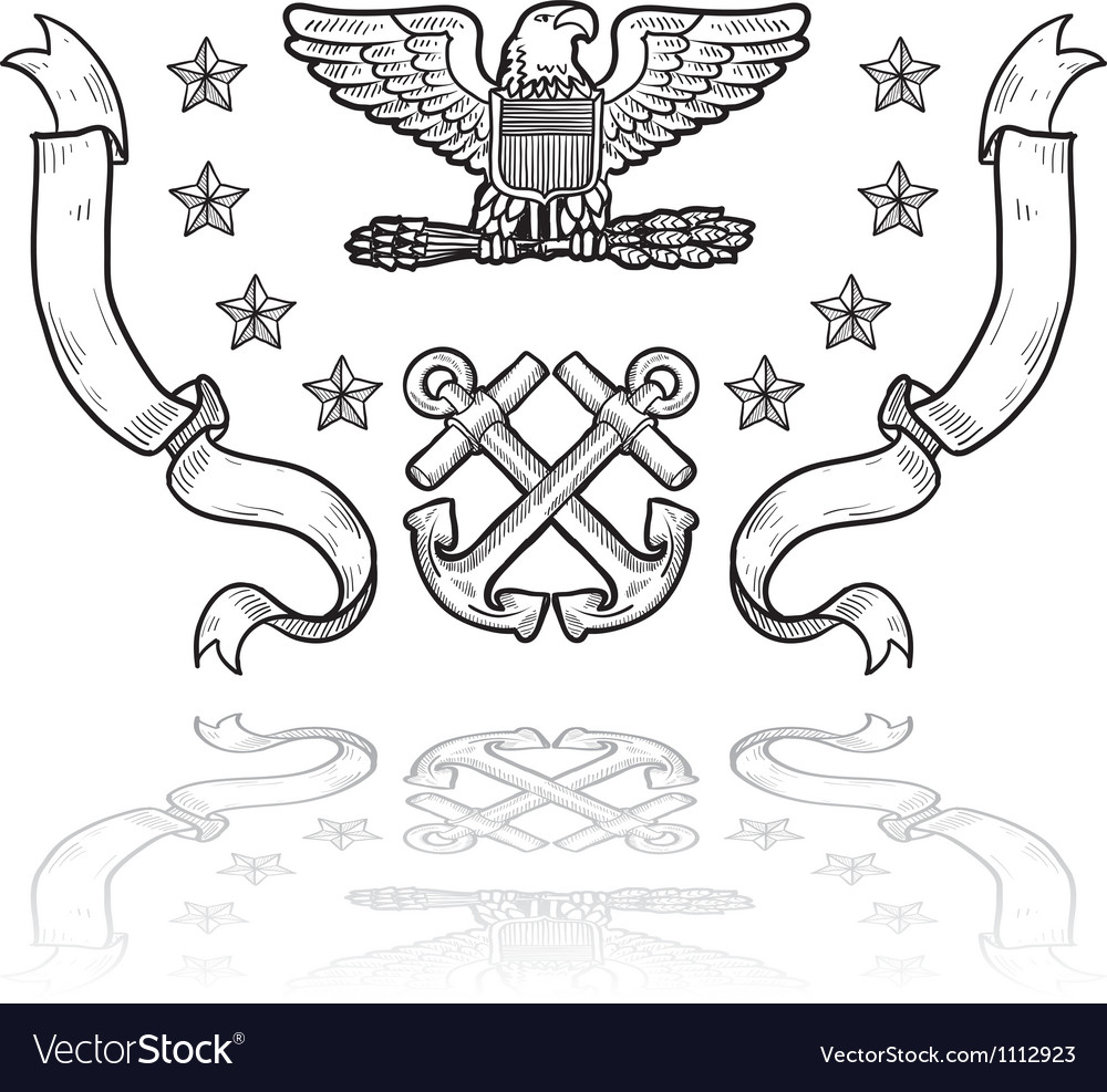Doodle us military insignia navy