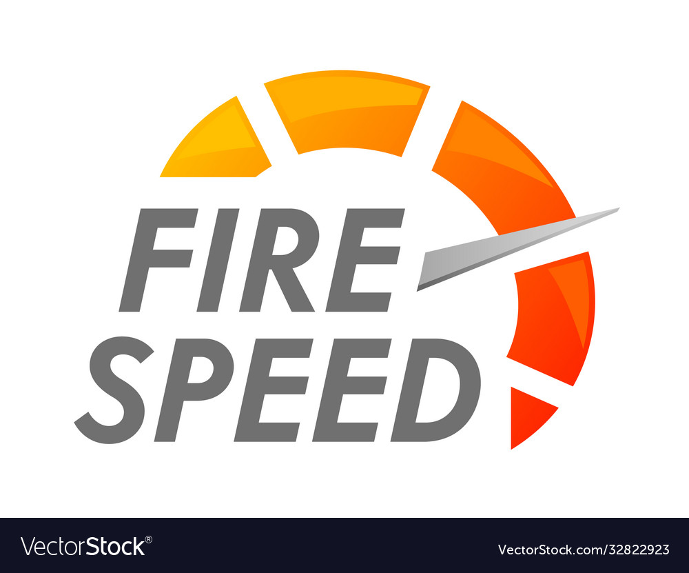 Fire speed banner icon with speedometer arrow
