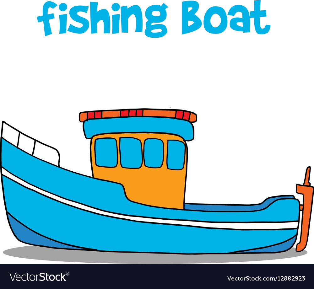 Fishing Boat Cartoon Art Royalty Free Vector Image