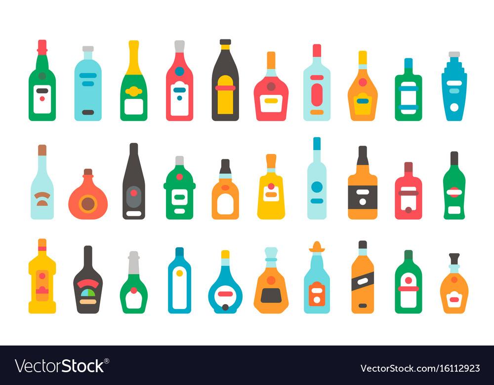 Flat design alcohol bottles set