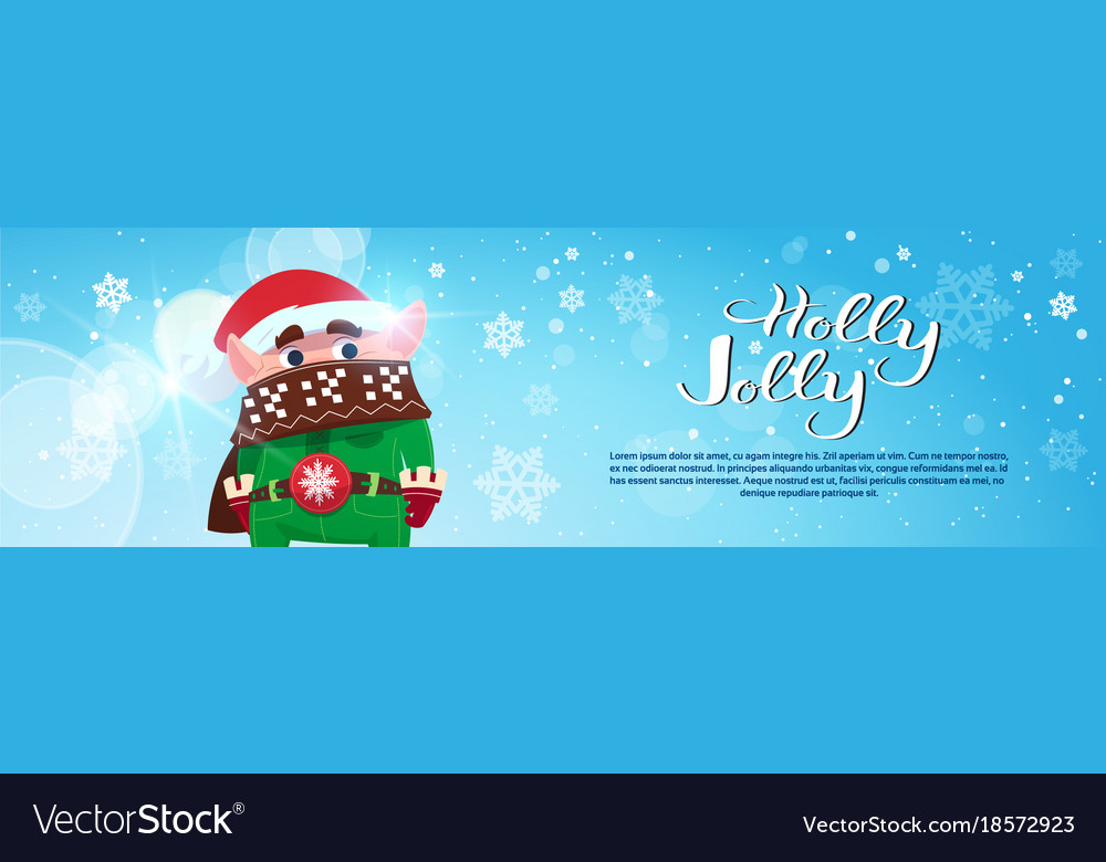 Holly jolly poster merry christmas banner green
