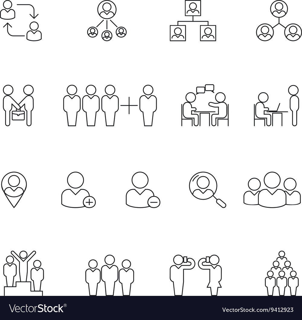 Human management icons Resource people thin line vector image
