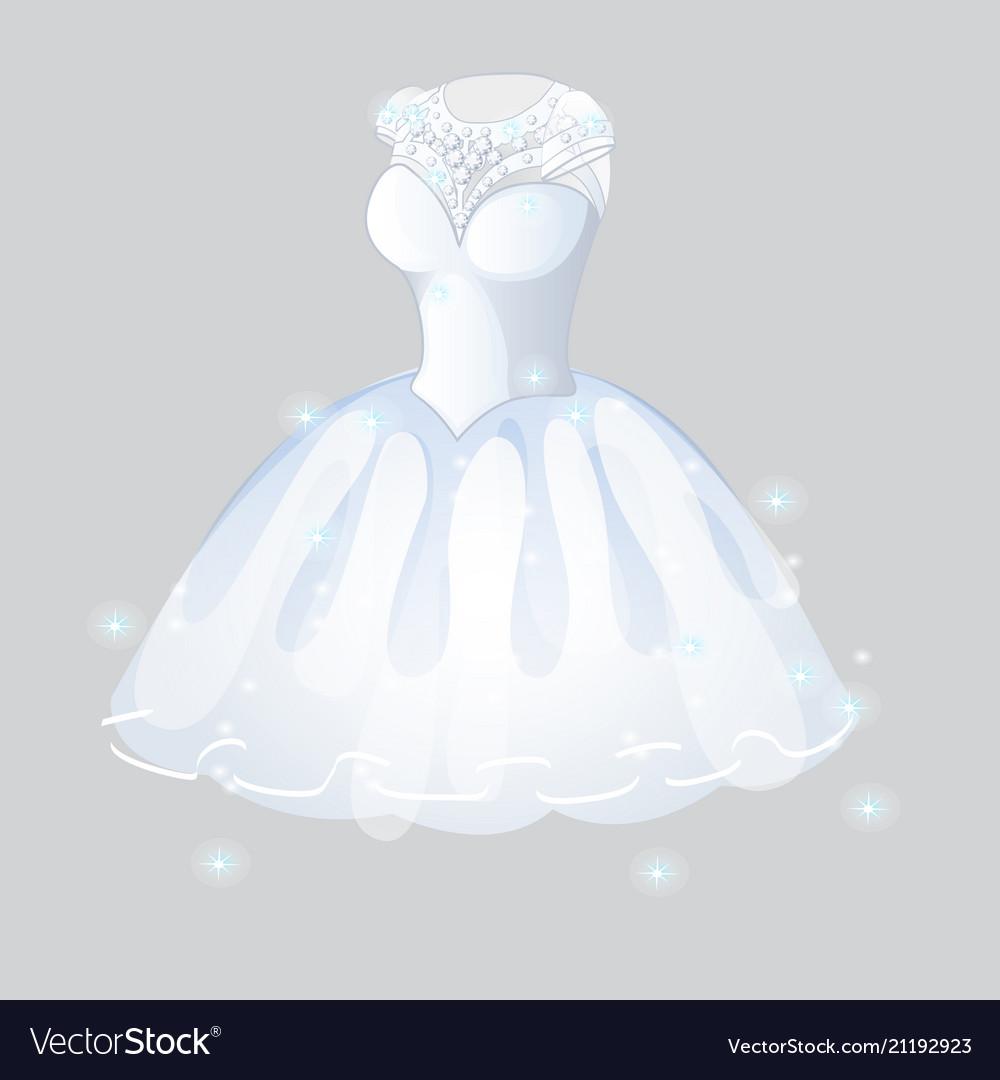 Luxurious bridesmaid dress isolated on grey