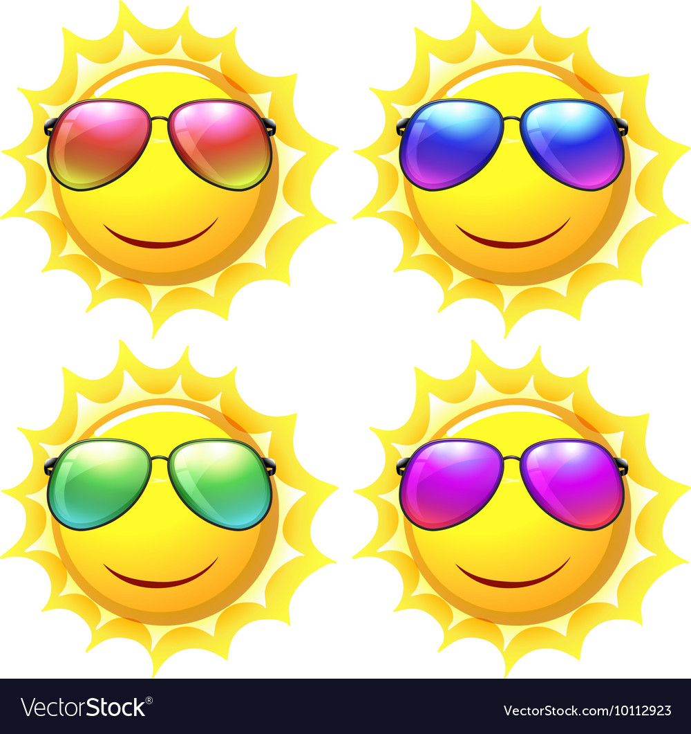 Sun wearing different colors of sunglasses