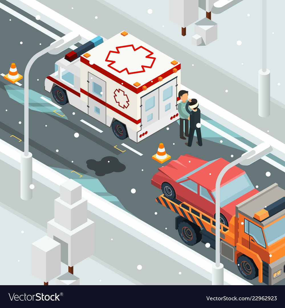 Urban accident crash cars winter warning on road
